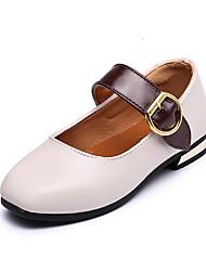Girls' Flats Light Soles PVC Summer Fall Casual Walking Light Soles Hook & Loop Low Heel Brown Black White Under 1in