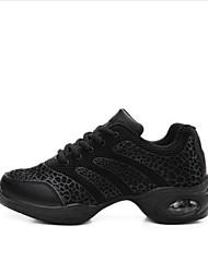 Women's Dance Sneakers Tulle Flats Heels Practice Black White
