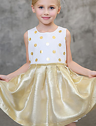 Girl's Fashion Polka dots Solid Color DressCotton Summer Sleeveless
