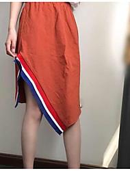 Femme Décontracté / Quotidien Asymétrique Jupes,Crochet Couleur Pleine Eté