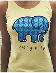 Damen Buchstabe Einfach T-shirt,U-Ausschnitt Sommer Ärmellos Baumwolle Dünn