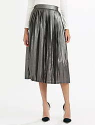 Women's Casual/Daily Midi Skirts,Simple Swing Pleated Solid Spring