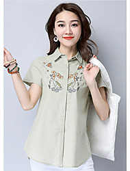 Women's Daily Simple Shirt,Solid Embroidery Shirt Collar Short Sleeve Cotton
