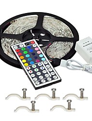 Led Strip Lights Kit 5050 Waterproof 5M 300leds RGB 60leds/m with 44key Ir Controller and 5PCS Mounting Bracket DC12V