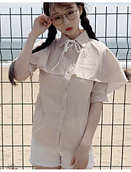 Women's Casual Sexy Blouse,Solid Shirt Collar Short Sleeve Others