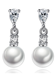 Drop Earrings Pearl Jewelry Korean Style Delicate Elegant Classic White Rhinestone Leaf Lady Daily Party Movie Gift