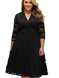 Damen A-Linie Kleid-Party Solide V-Ausschnitt Midi ¾-Arm Seide Alle Saisons Mittlere Hüfthöhe Mikro-elastisch Semi-transparent