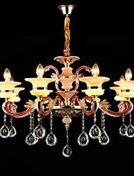 Lampe suspendue Alliage de Zinc Fonctionnalité for Cristal Style mini Métal Chambre à coucher Salle à manger 8 Ampoules