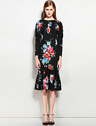 MARY YAN&YU Women's Going out Casual/Daily Sexy Street chic A Line DressFloral Round Neck Midi Knee-length  Sleeve Polyester Spandex Spring Summer
