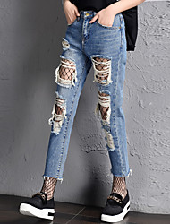 Women's High Rise Micro-elastic Jeans Pants,Simple Relaxed Solid