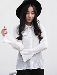 Feminino Camisa Social Casual SimplesSólido Poliéster Colarinho de Camisa Manga Longa