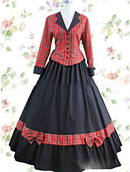 One-Piece/Dress Gothic Lolita Lolita Cosplay Lolita Dress Red Vintage Cap Long Sleeves Floor-length Dress For Other