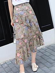 Mujer Casual/Diario Midi Faldas Verano Estampado
