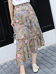 Women's Casual/Daily Midi Skirts Print Summer