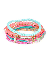 Lureme Women's Bohemian Beads Leaf Charms Multi Strand Textured Bracelet Set