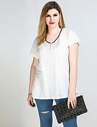 T-shirt Da donna Casual Vacanze Taglie forti Sensuale Semplice Romantico Primavera Estate,Monocolore Collage A VCotone Poliestere