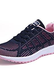 Femme Chaussures d'Athlétisme Confort Tulle Eté Automne Bureau & Travail Décontracté Sport Marche Lacet PlateformeNoir Bleu de minuit