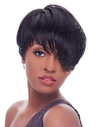 Hot black  Fluffy Short hair Human Hair Wigs For woman