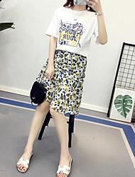 Mujer Casual/Diario Asimétrico Faldas,Línea A Verano Estampado