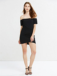 Women's Off The Shoulder Asymmetrical Formal Work Party Sexy Street chic Bodycon DressSolid Ruched Boat Neck Asymmetrical Short Sleeve
