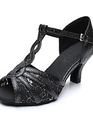 Maßfertigung Damen Latin Kunstleder Sandalen Sneakers Professionell Verschlussschnalle Blockabsatz Weiß Schwarz 5 - 6,8 cm