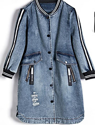 Women's Other Casual Cowboy Spring Denim Jacket,Letter & Number Round Neck 3/4 Length Sleeve Long Denim