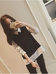 Women's Going out Casual/Daily Simple T-shirt,Striped Shirt Collar Long Sleeve Silk