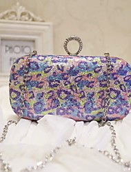 Women Evening Bag PU All Seasons Event/Party Party & Evening Club Baguette Sequined Magnetic Violet
