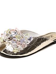 Women's Sandals Comfort Polyester Summer Casual Comfort Rhinestone Flat Heel Silver Gold Flat