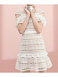 Damen Tunika Kleid-Lässig/Alltäglich Einfach Solide Rundhalsausschnitt Knielang Kurzarm Andere Sommer Mittlere Hüfthöhe Unelastisch Dünn