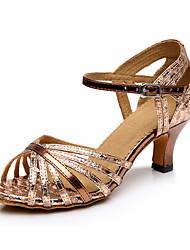 Keine Maßfertigung möglich Damen Latin Kunstleder Sandalen Sneakers Professionell Blockabsatz Rot Bronze 5 - 6,8 cm