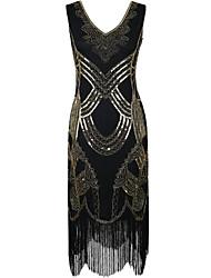 gaine / colonne v-cou genou-longueur robe de cocktail en polyester avec paillettes