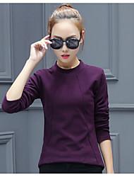 Damen Solide Einfach T-shirt,Rundhalsausschnitt Langarm Baumwolle