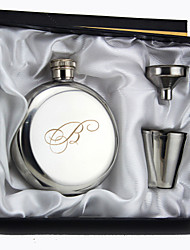 Personalized 3-pieces Stainless Steel Hip Flasks 5-oz Silver Flask Gift Set   Initial