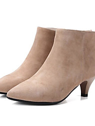 Women's Boots Comfort Suede Spring Casual Almond Black Flat