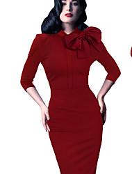 Women's Special Occasion Bodycon Dress,Solid Asymmetrical Midi ½ Length Sleeve Cotton Spring Mid Rise Micro-elastic Medium