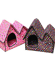 Cat Dog Bed Pet Baskets Polka Dot Keep Warm Soft Blushing Pink Brown