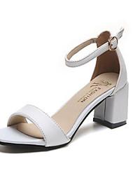 Damen Sandalen Komfort PU Sommer Herbst Normal Komfort Blockabsatz Weiß Schwarz 5 - 7 cm