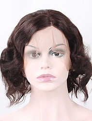 Natural Short Wavy Natural Black with a little Brown Synthetic Hair for Women Heat Resistant Glueless Half Hand Tied Fiber Lace Front Wigs