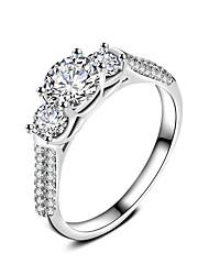 Ring Verlobungsring Kubikzirkonia Modisch Klassisch Elegant Kubikzirkonia versilbert Kreisform Schmuck Für Hochzeit Party 1 Set