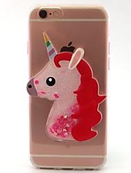Per iPhone X iPhone 8 Custodie cover Liquido a cascata Transparente Fantasia/disegno Fai da te Custodia posteriore Custodia Unicorno