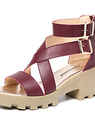 Women's Sandals Club Shoes Leatherette Summer Casual Wedge Heel Blushing Pink Ruby Black 3in-3 3/4in