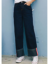 Women's Mid Rise Micro-elastic Wide Leg Jeans Pants,Simple Wide Leg Solid