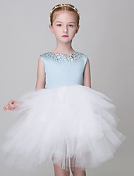 Princess Short / Mini Flower Girl Dress Jewel with