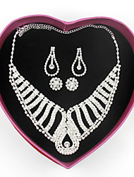 Lovely Necklace and 2 Earrings Jewelry Set Ladies Wedding Bridal Bridesmaid Alloy Rhinestone Silver Crystal Sets