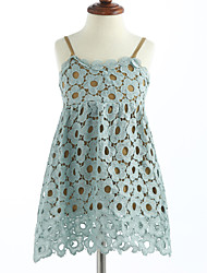 Girl's Solid Lattice Dress,Cotton Summer Sleeveless