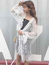 Women's Daily Casual Tops Spring/Fall Summer Coat,Solid V Neck Long Pant Long Lace Lace