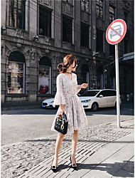 Women's Daily Lace Dress,Solid Round Neck Midi 3/4 Length Sleeve Rayon Summer Low Rise Micro-elastic Medium