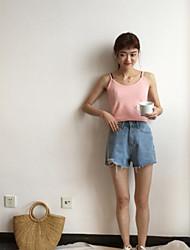 Damen Solide Einfach Tank Tops,Gurt Ärmellos Baumwolle