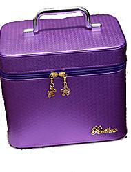 Women Cosmetic Bag PU All Seasons Stage Square Zipper Lake blue Fuchsia Blushing Pink